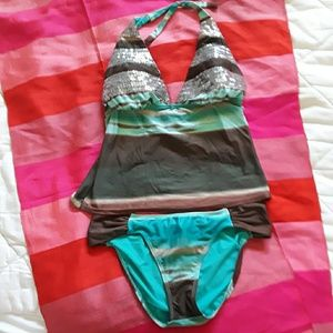 Vix Ombre Stripe Sequined Tankini Set, size 12